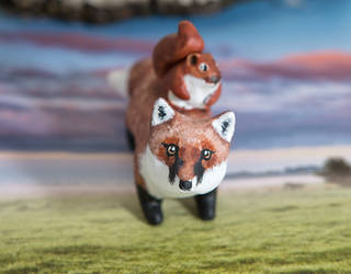 Red fox with red squirrel polymer clay totem by lifedancecreations