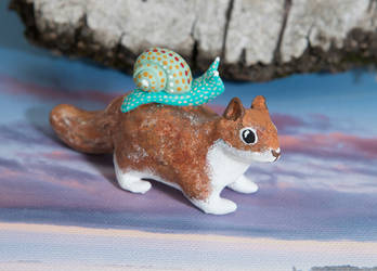 Red squirrel with snail by lifedancecreations
