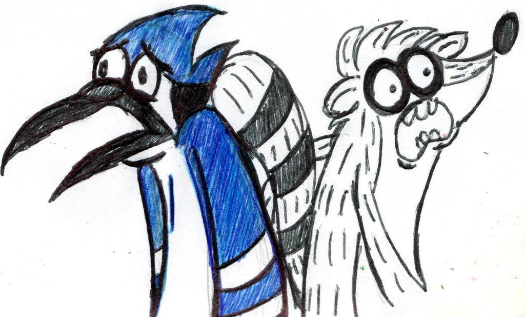 Mordecai and Rigby-scared or OMG looks by YuiHarunaShinozaki