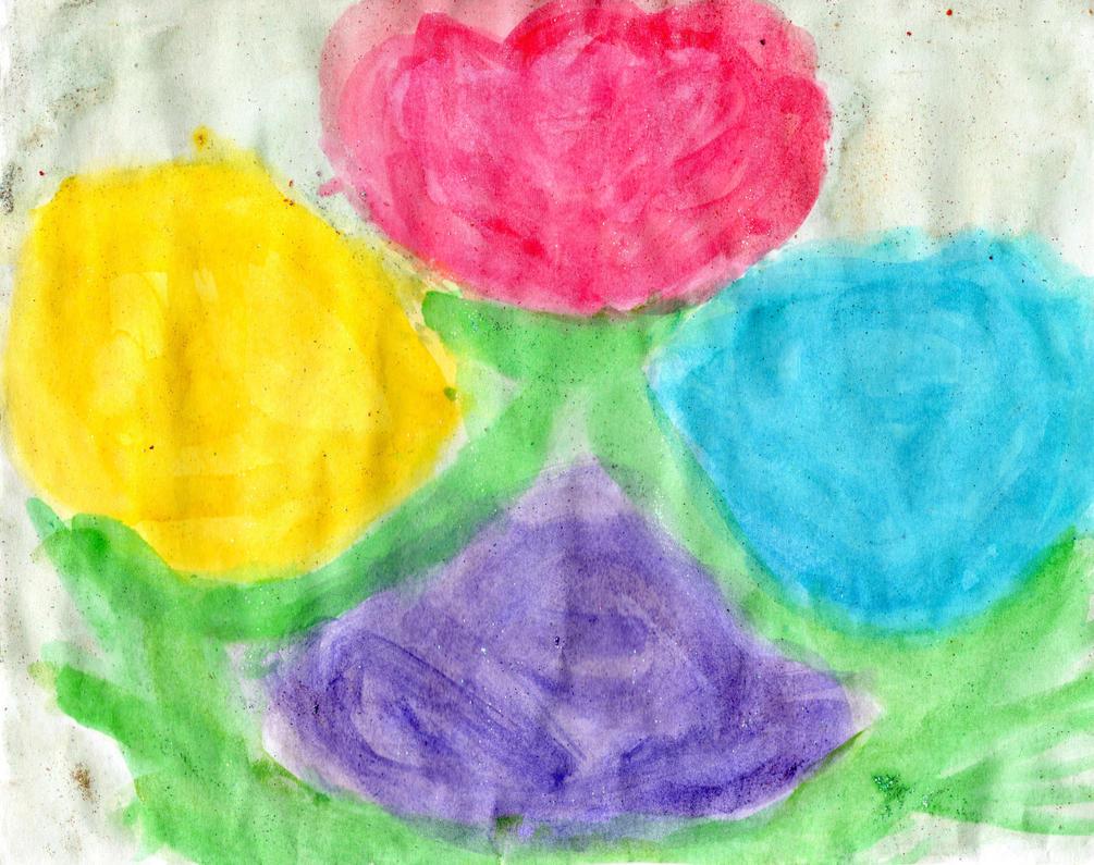 Four roses  watercolor paiting by YuiHarunaShinozaki