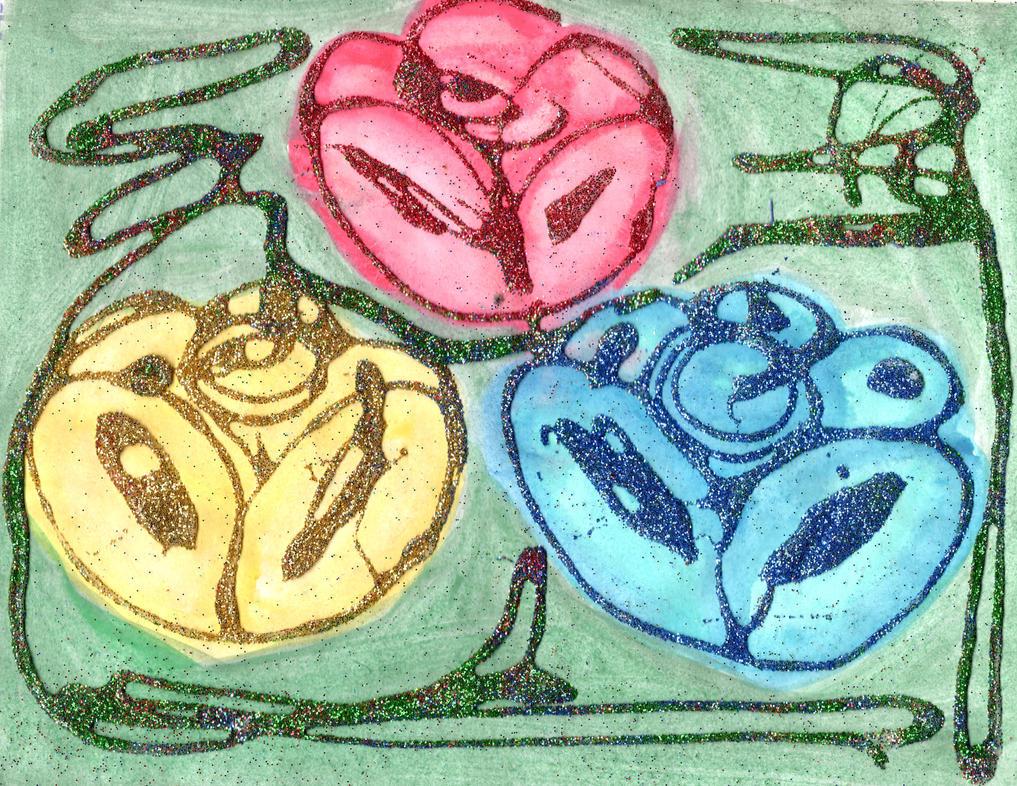 Ib, Mary and Garry's roses:red, yellow and blue by YuiHarunaShinozaki