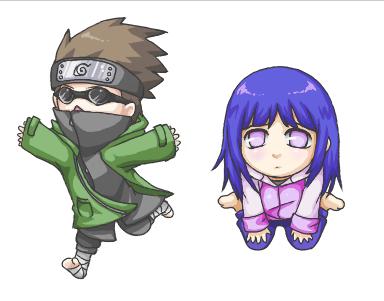 Hinata and shino chibis by Kiwibon