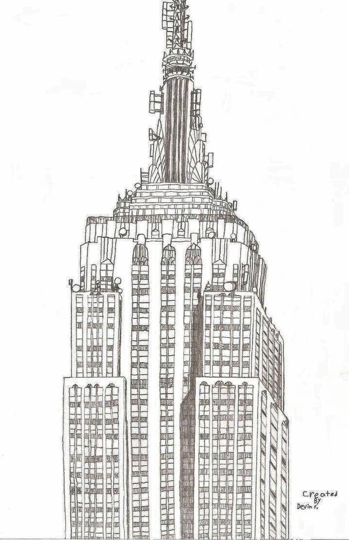 Empire State Building Bleistiftzeichnung