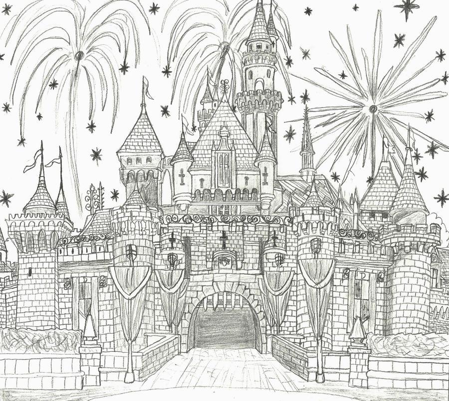 Sleeping Beauty Castle Sketch By NY Disney Fan1955