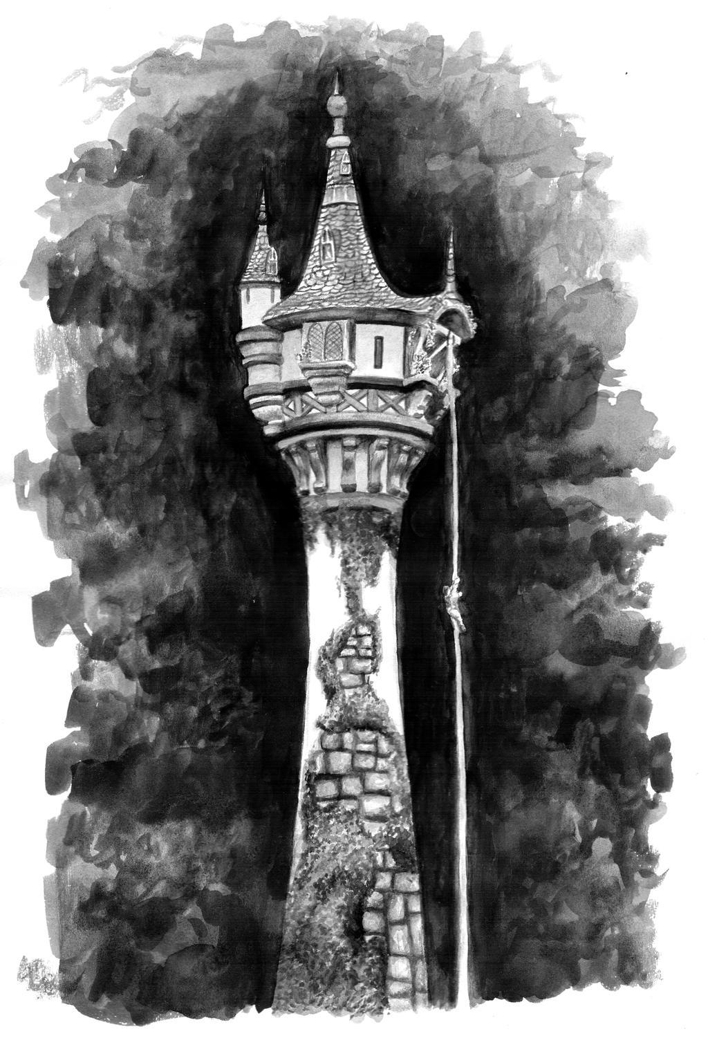 Rapunzel's tower on les pays des contes de fees by foreverwonderstruck