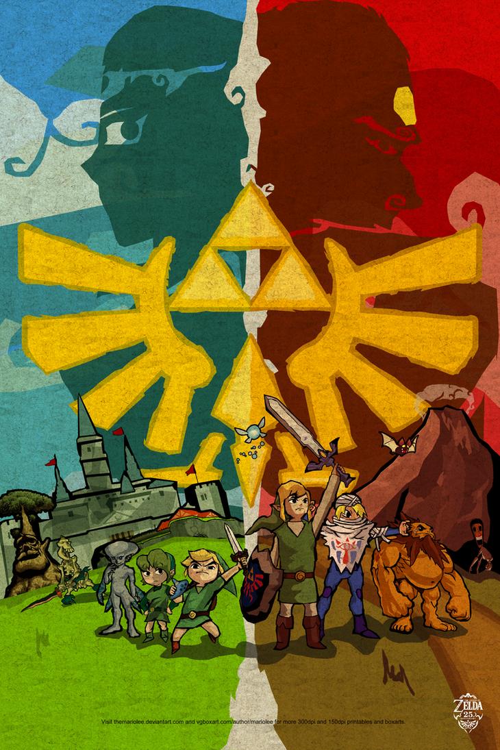 Legend Of Zelda Wind Waker Poster Ocarina of Time Styliz...