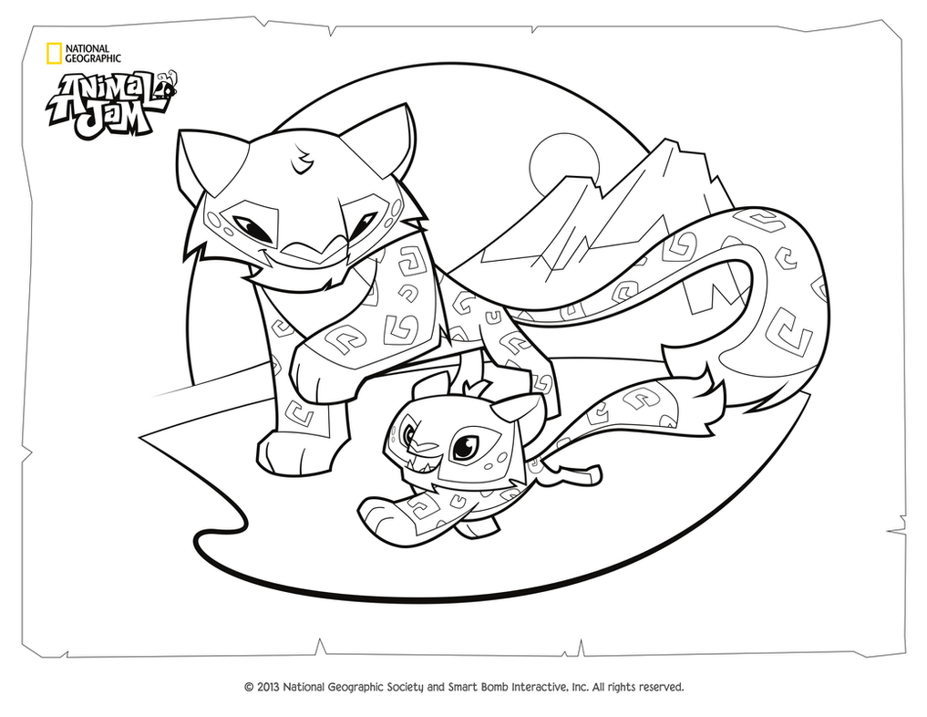 Animal Jam Coloring Pages Snow Leopard : Animal jam coloring page snow leopard and her cub by