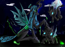 Chrysalis and her children by noideasfornicknames
