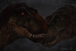 T-rexes and rain. The Isle