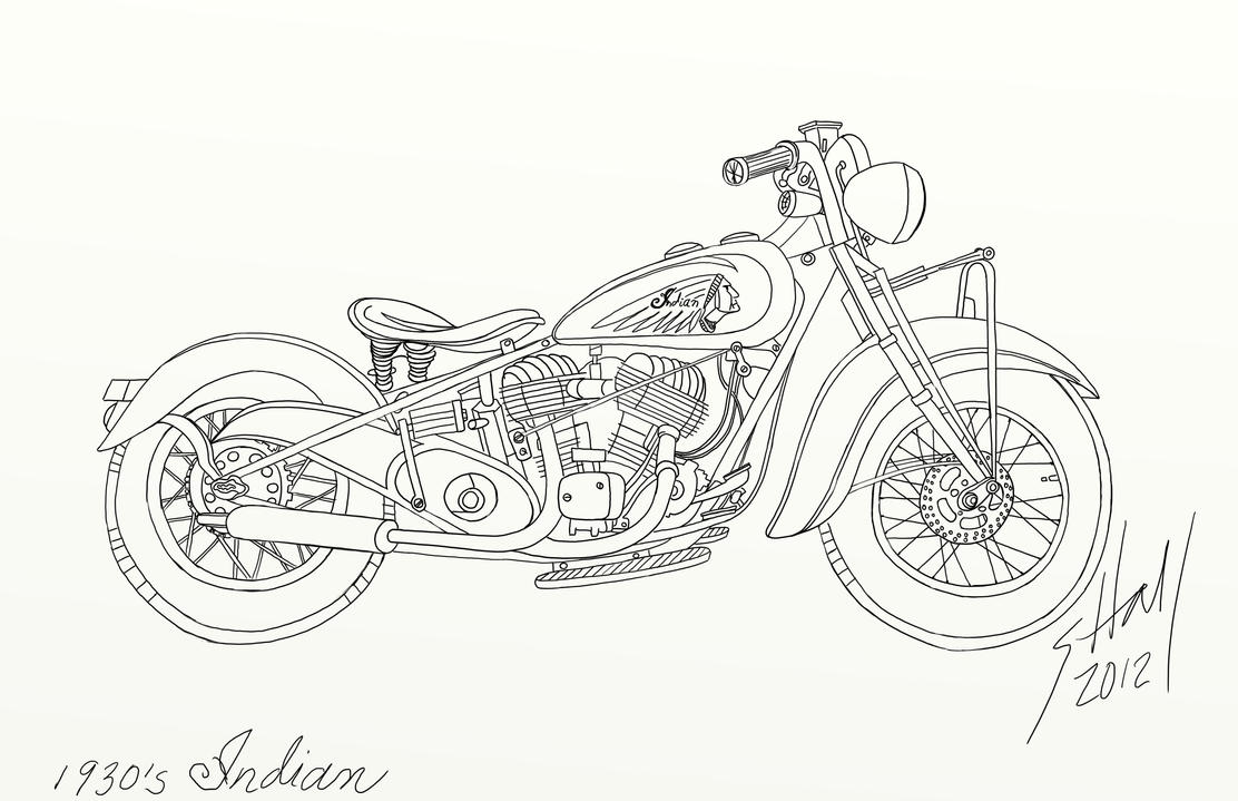 Vintage Indian Motorcycle Drawing