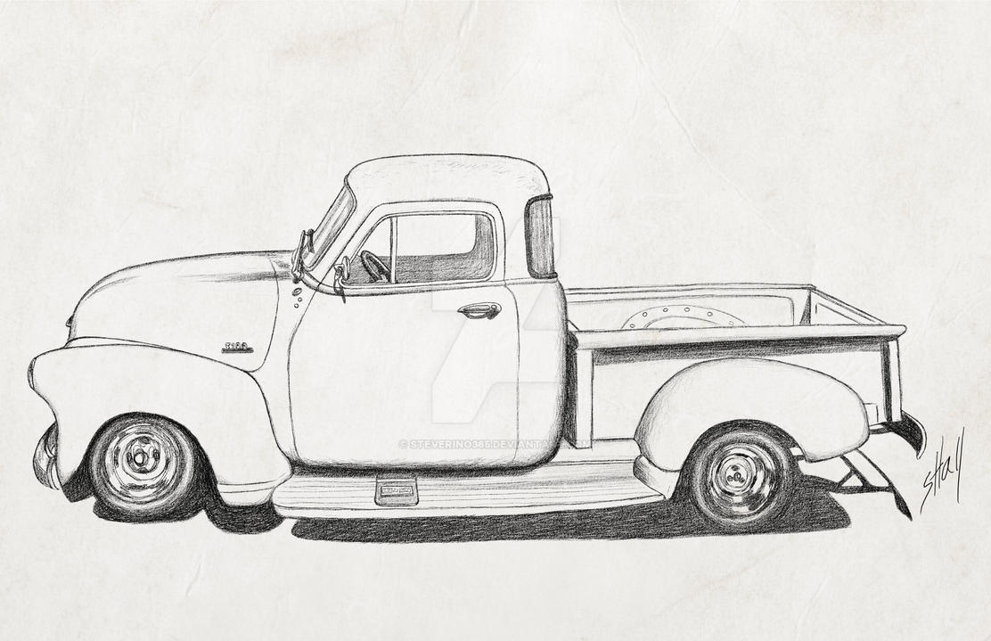 Vintage 1954 pickup pencil sketch paper by steverino365