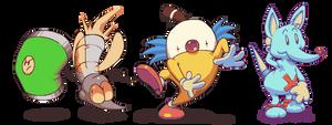 Clown, Kangaroo, Mosquito and Can Thingies