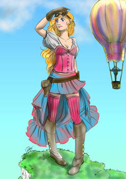 Colorful steampunk girl