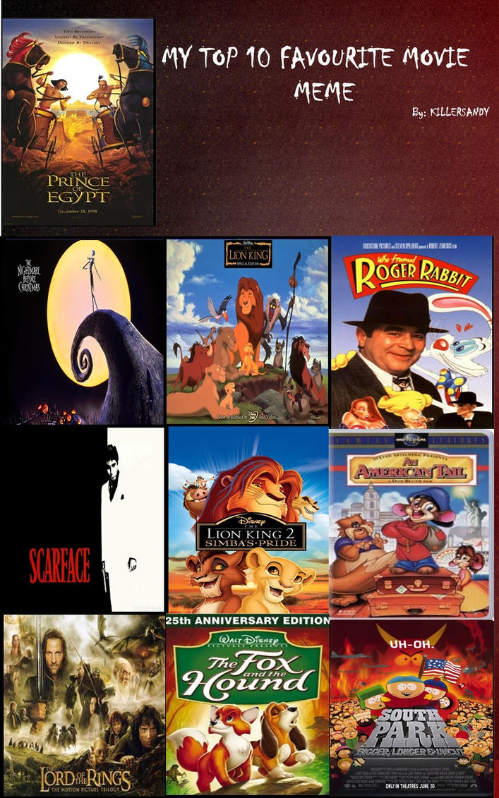 My top 10 favorite movies of all time by alphamoxley95 on deviantart