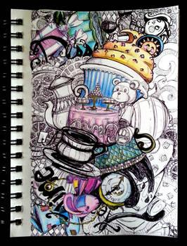 Tea Party Doodle Sketch