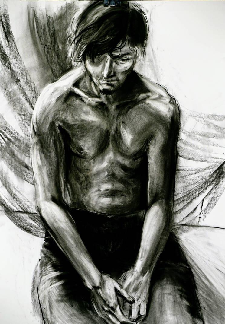 Sad man siting alone by asacharczuk