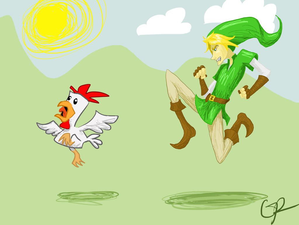 Link chasing a Cucco by stormthief19