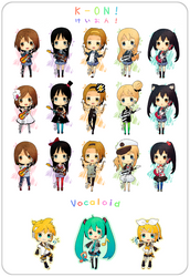Keychains - K-ON and Vocaloid by Aka-Shiro
