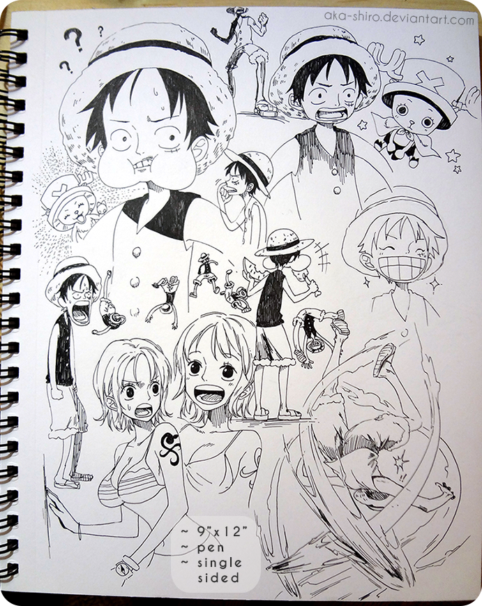 Sketchbook Page 8 [One Piece] by Aka-Shiro