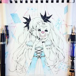 Inktober #8: Karakuri Pierrot by Aka-Shiro