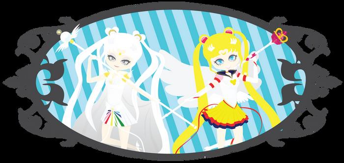 Sailor Cosmos and Eternal Sailor Moon