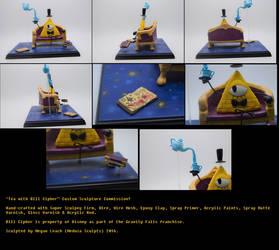 'Tea with Bill Cipher' Custom Sculpture Commission