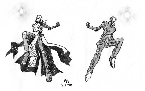 Freeze Frame Sketch - Trigun Vash and Wolfwood by YumeSprite