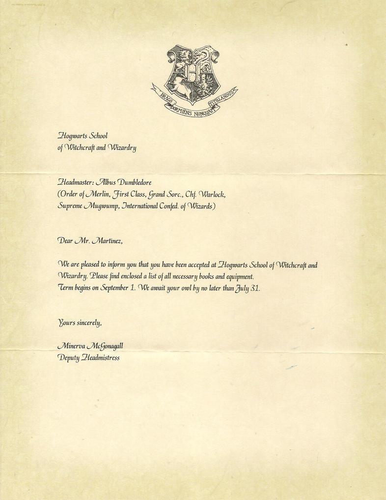 Hogwarts Acceptance Letter P.1 by Javi3108 on DeviantArt