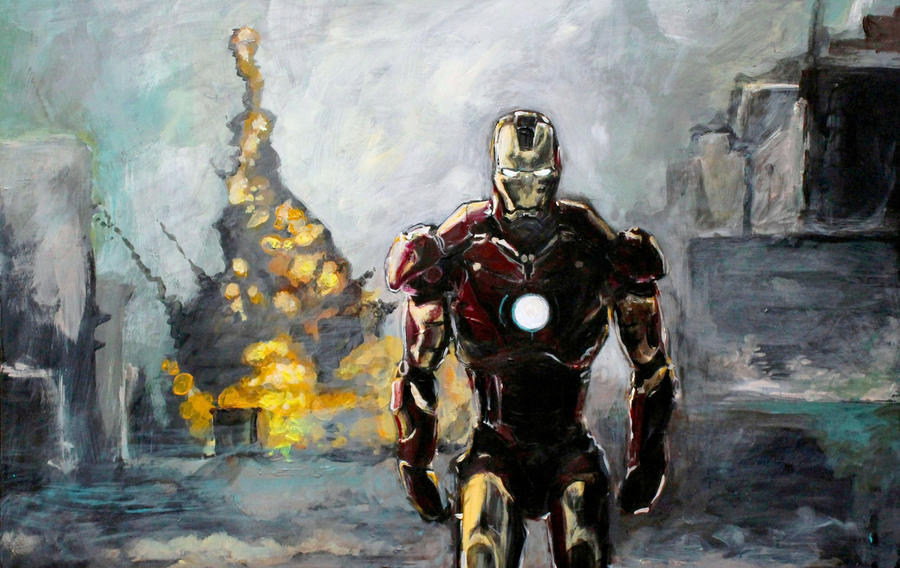 Iron man painting by DoodleWithGlueGun