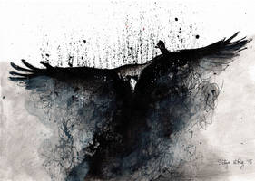 Raven rising from dust (ink painting on canvas)