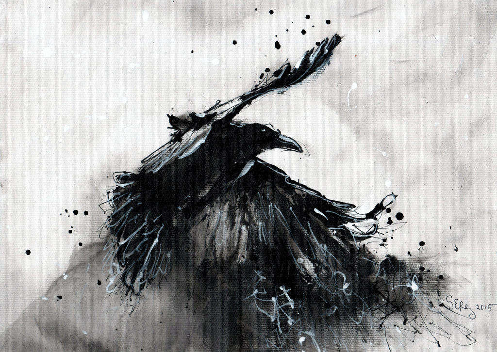 Abstract Raven Black And White By Doodlewithgluegun On