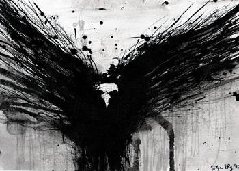 Abstract Raven ink painting