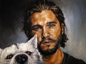 Jon Snow and Ghost the wolf, oil painting