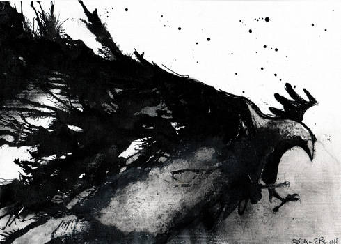 Abstract raven - ink painting