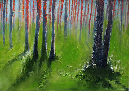 Polva pine forest in South Estonia, oil painting