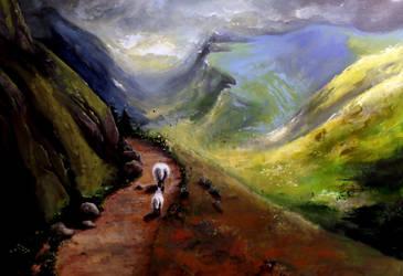 Acrylic painting of Scotland's highlands