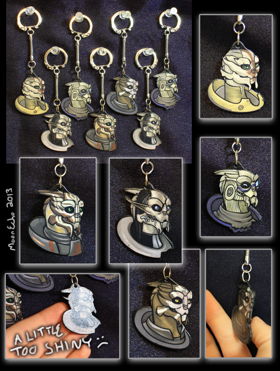 Turian Shrinky-Dink Keychains by MoonEcho