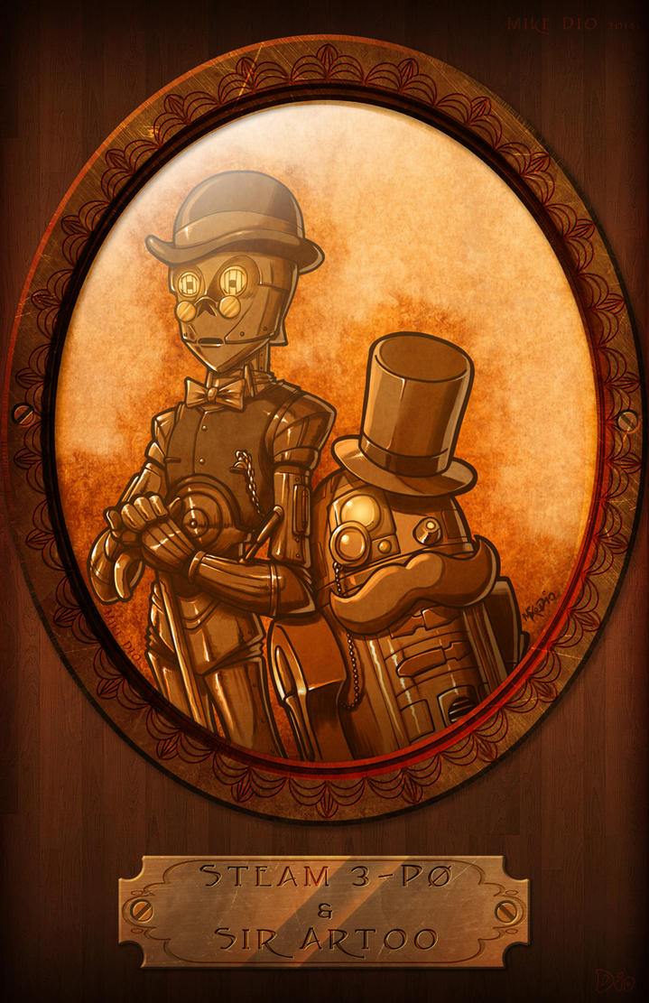 Steam 3-P0 and Sir Artoo by megachaos