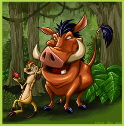 Timon and Pumba by megachaos