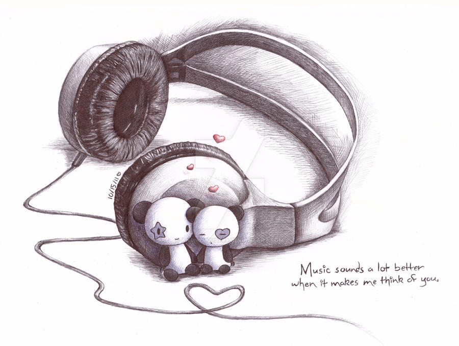Pandas and Headphones by an0nym0use99 on DeviantArt