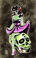 Pinup Ghouls Series- Skeleton by misscarissarose