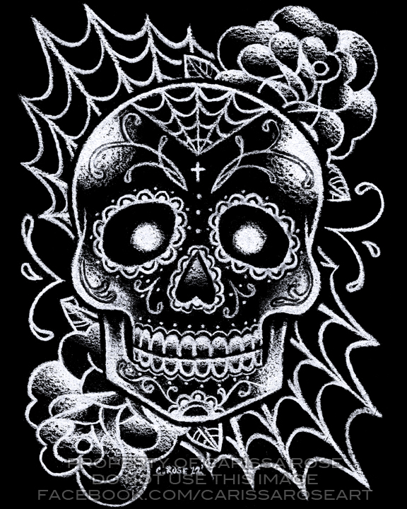 Black and White Sugar Skull Tattoo Flash by ...