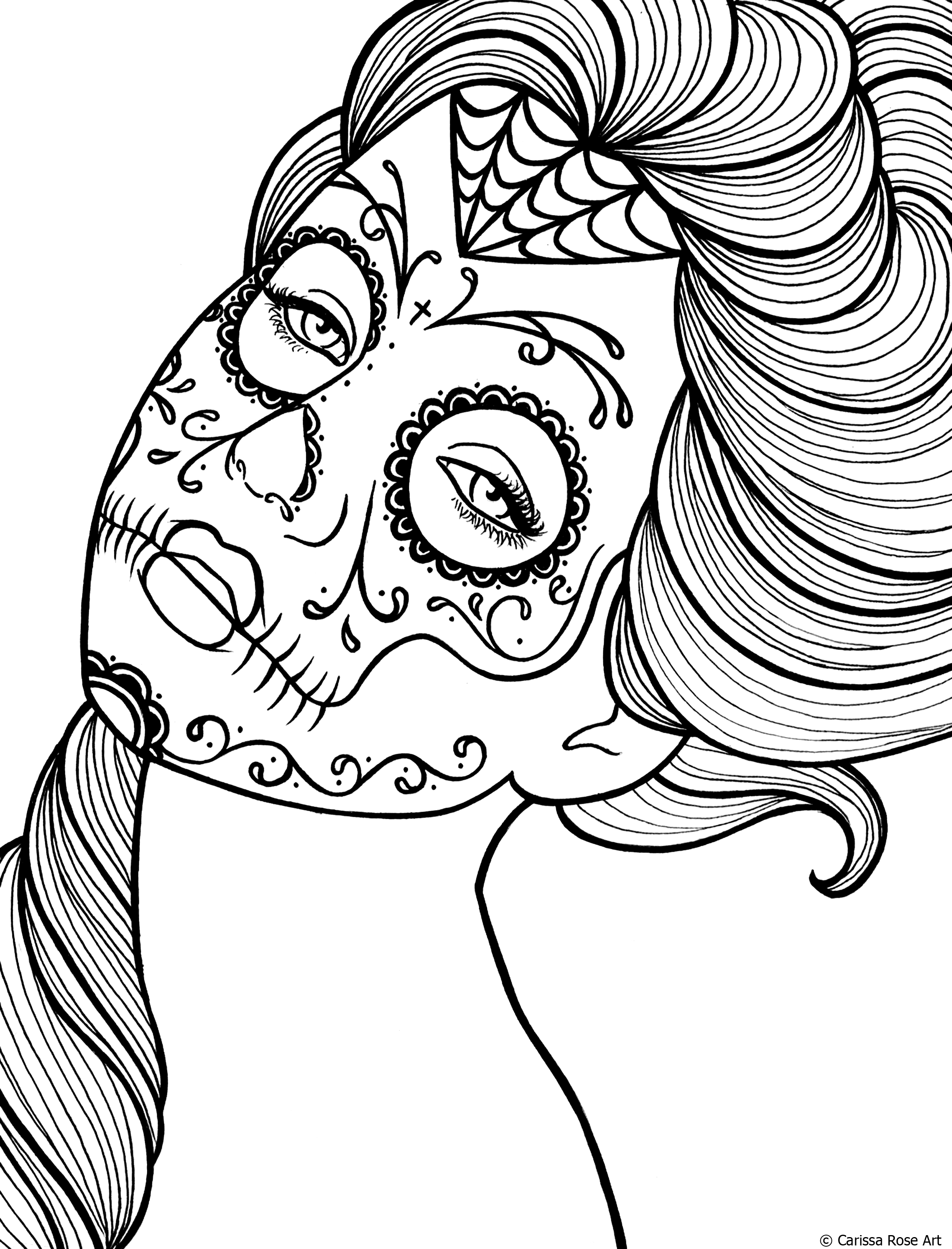 Free printable day of the dead coloring book page by for Printable skull coloring pages for adults