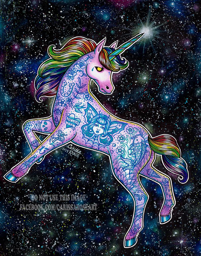 Tattooed Unicorn by misscarissarose