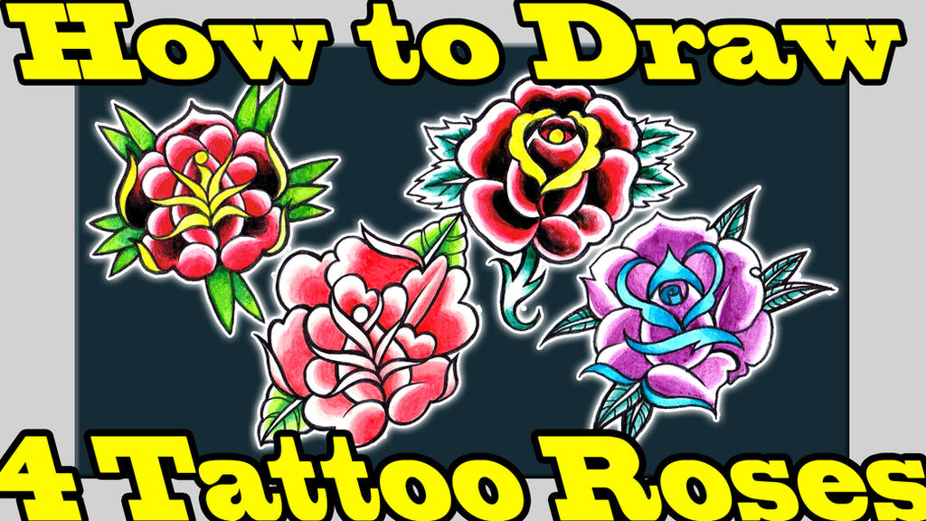 How to Draw 4 Tattoo Roses Tutorial by misscarissarose