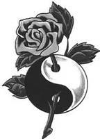 yin yang rose tattoo by Deathman1624