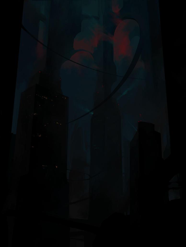 Dark cityscape commission by antonphoenix