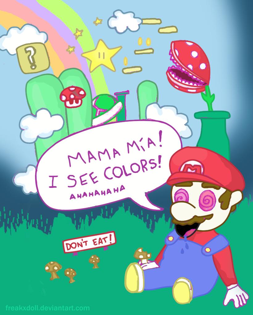Mario Ate Magic Mushrooms By Freakxdoll On Deviantart