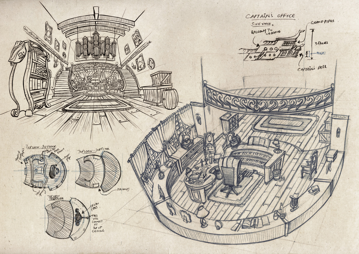 the pirate band ship interior sketches by soulfinder90 on deviantart