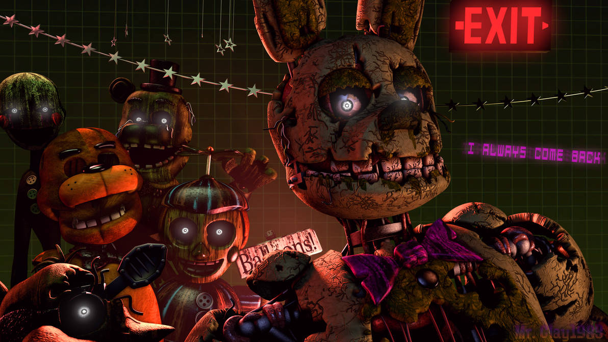 [SFM/FNAF/Poster] Springtrap and the Phantom Gang by MrClay1983
